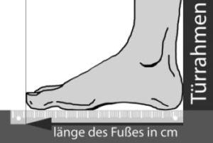 Inliner-Größentabellen Fußgrößen messen